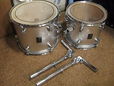 """12"""" & 13"""" RACK TOM DRUMS by Performance Percussion in silver sparkle"""