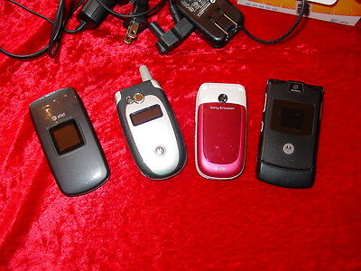 Lot of 4 Cell Phones for Parts or Refurb~Sony~Motorola~Pantech~Razr~w/ Chargers
