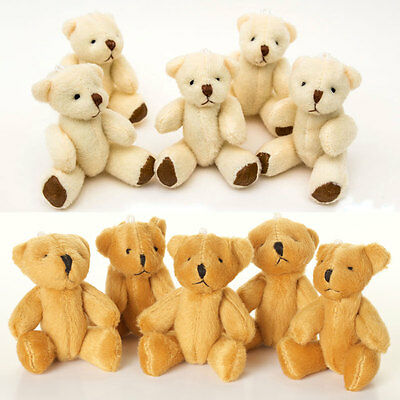 NEW - Brown And White Teddy Bears - Small Cute Soft Cuddly  - Gift Present