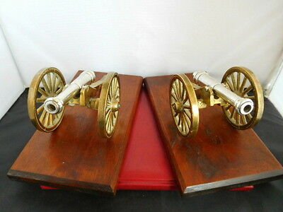 Extremely Rare Pair Antique Solid English Sterling Silver Boer War Model Cannons
