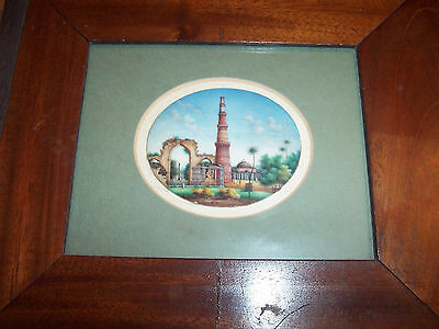 Anglo Indian Framed Fine Miniature Painting Of Minaret Qutb Minar Antique