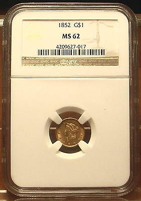 Rare! 1852 Gold $1 Liberty Head Coin Type I ~ NGC MS 62 ~ Pre Civil War Date ~