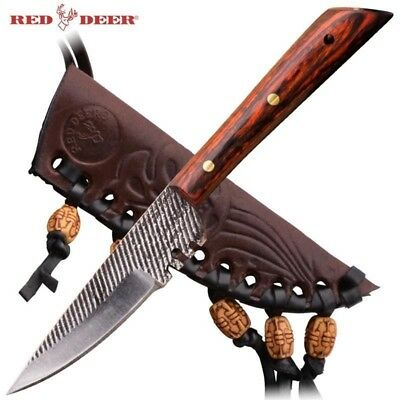 Red Deer Western Patch Trade Fixed Blade Knife w/ Sheath Rose Wood PNS-B-113