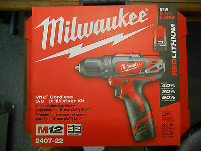 "New Never Opened Milwaukee 2407-22 M12 3/8"" 12 Volt Cordless Drill Drill Kit*new"