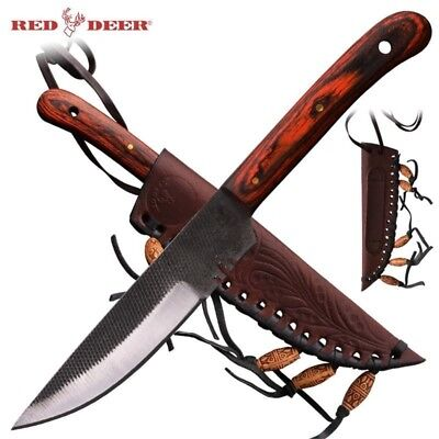 Red Deer Western Patch Trade Fixed Blade Knife w/ Sheath Rose Wood PNS-B-115