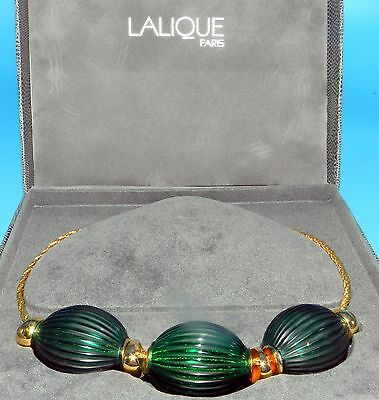 Beautiful Lalique France Art Glass Nerita Collection Green Oceania Necklace
