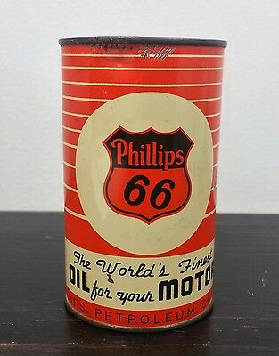 Vintage Phillips 66 Promotional Oil Can Tin Bank - Original Orange Label
