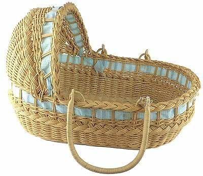 Vintage Woven & Braided Wicker Hooded Baby Basket w/ Carry Handles Tight Weave