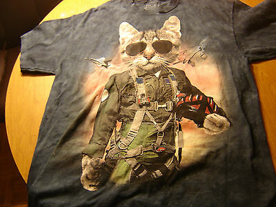 THE MOUNTAIN DYED LARGE CAT PILOT  T-Shirt LARGE 100% COTTON
