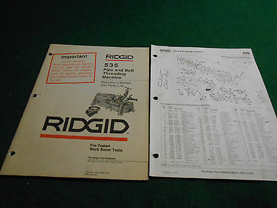 RIDGID 535 PIPE And BOLT THREADING MACHINE MANUAL & PARTS LIST
