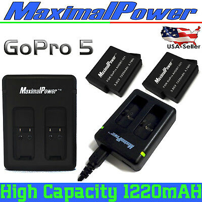 MaximalPower Camera Battery/USB Dual Charger for GoPro Hero 5 6  AHDBT-501 Lot