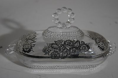 Duncan Miller Teardrop Silver Overlay Flanders All Glass 1/4 Pound Butter Dish