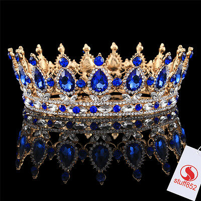 Baroque Crystal Queen Crown Tiara Sapphire Teardrop Rhinestone Full Gold