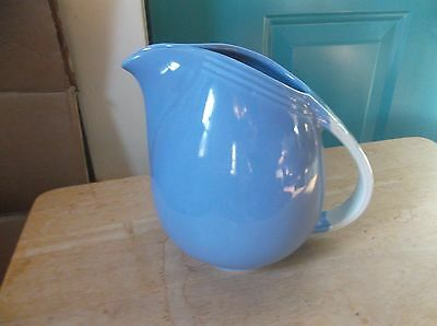 Vintage Hall Pottery Blue with Floral Handle Pinched Lip Pitcher