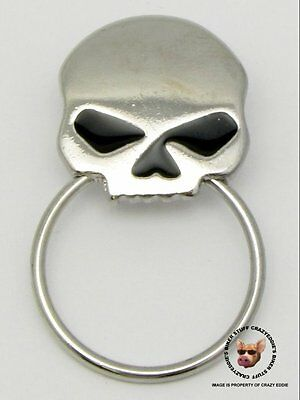 Skull (With Black Eyes) Biker Pin With Sunglass Holder * Made In Usa *