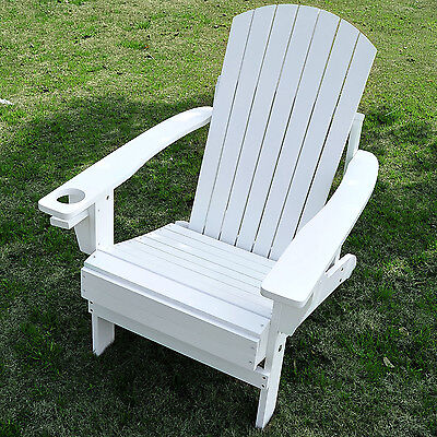 OutsunnyWooden Lounge Patio Chair LoungeDeck Reclined Outdoor  Adirondack White