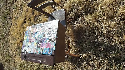 Vintage Antique Child's School Desk With Attached Chair Unusual Painted So Cool