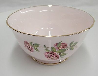 Tuscan Bone China June Glory Open Sugar Bowl Flowers Butterfly Pink Gilded Exc