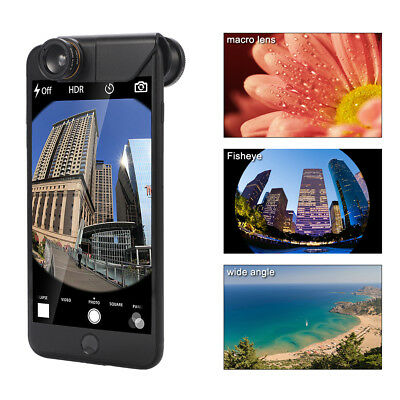 """3in1 Clip-on Fisheye+Wide Angle+Macro Selife Lens for iPhone 7 Plus 5.5"""" DC753"""