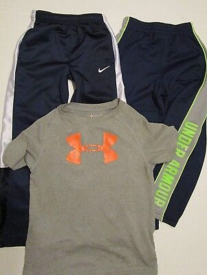 Lot 3 UNDER ARMOUR Nike Youth Boys Athletic SHirt Pants 5