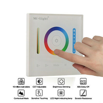 Mi Light Smart Touch Panel CCT Dimmer RGBW Led Controller Wall mounted DC12-24V