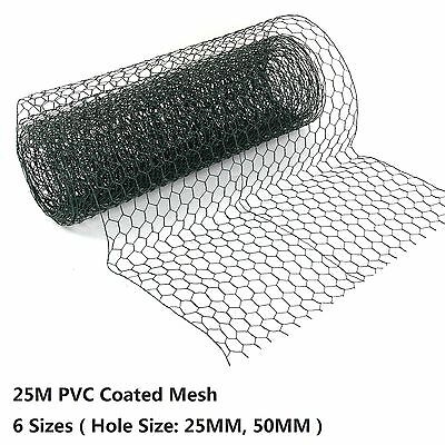 PVC Coated Green Chicken Rabbit Wire 25m 3 widths Mesh Aviary Fencing Garden