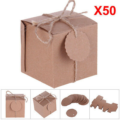 50Pc Eco Kraft Small Natural Gift Boxes Wedding Party Candy Gift Boxes With Tags