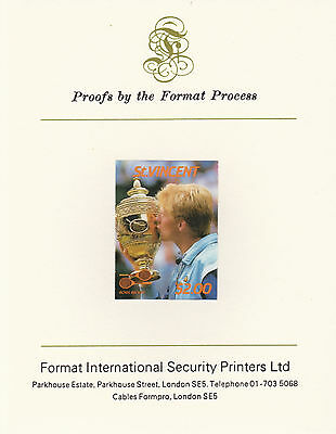 St Vincent 2404 - 1987 TENNIS $2 imperf on Format International PROOF  CARD