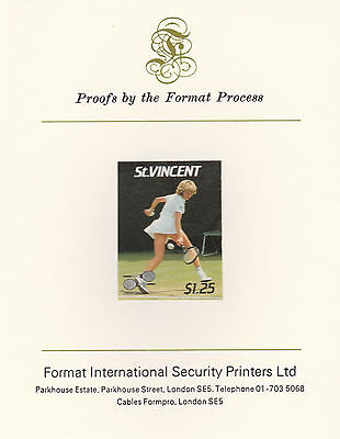St Vincent 2411 - 1987 TENNIS $1.25 imperf on Format International PROOF  CARD