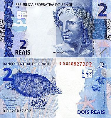BRAZIL 2 Reals Banknote World Paper Money UNC Currency Pick p-252a Turtle Note