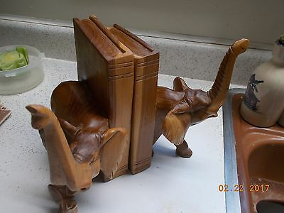 Hand Carved Elephant Family Bookends, Beautifully Grained Wood of Unknown Type