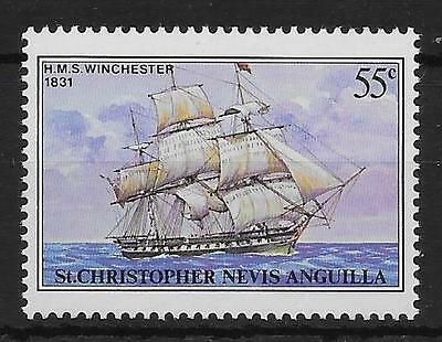 ST.KITTS SG45b 1980 SHIPS 55c WITH OVERVPRINT OMITTED MNH