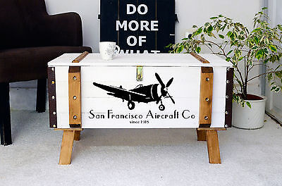Vintage Wooden pine chest trunk blanket box rustic coffee table steamer airplane