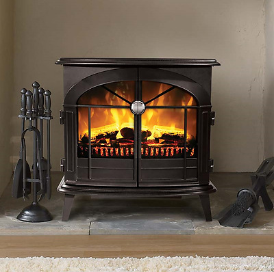 Flame Effect Electric Fire 2KW Freestanding Fan Heater Fireplace Coal Logs Stove