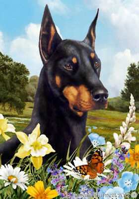 Garden Indoor/Outdoor Summer Flag - Black & Tan Doberman Pinscher 180151