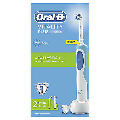 Oral-B Pro Vitality Plus Cross Action Electric Rechargeable Toothbrush New Uk