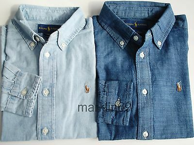 Boys Genuine Ralph Lauren Blue Chambray Cotton Shirt From 2yrs to 18-20yrs
