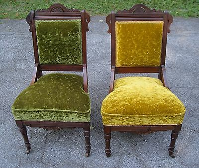 Pair Antique Eastlake Cushion  Formal Parlor Dining Chairs