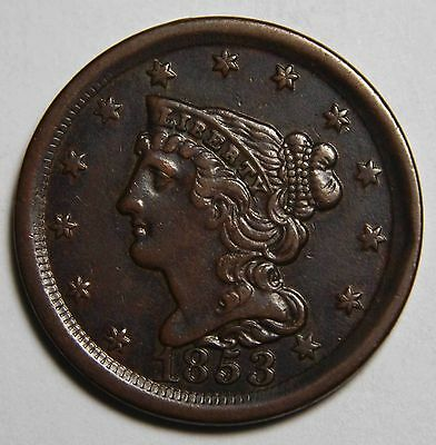 1853 Philadelphia Mint Copper Braided Head Half Cent Coin Lot# MZ 4127
