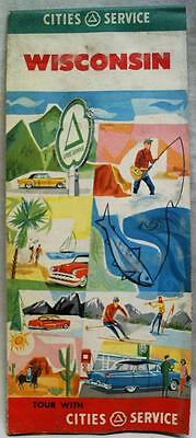 Cities Service Wisconsin Automobile Highway Road Map 1956 Vintage Travel