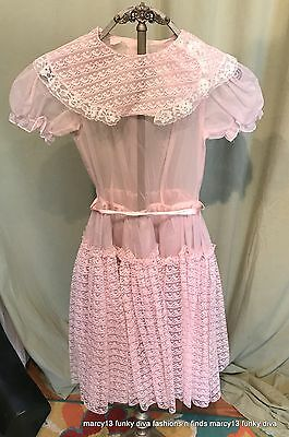 Vintage 50's 60's Girl's Semi-Sheer Pink Full Skirt SS Lace Dress Bust 30""