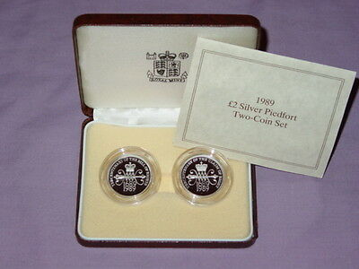 1989 Royal Mint Silver Piedfort Proof Bill & Claim Of Rights £2 Coins