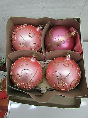 Jumbo German Satin Pink Glass Christmas Ornaments Gold Mica Accents IOB