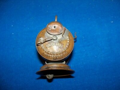 "Scarce Antique Brass ""grier Bros"" Coal Mine Mining Carbide Lamp Light"
