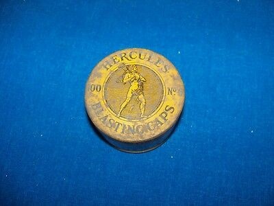 ANTIQUE ROUND YELLOW HERCULES No 6 BLASTING CAP TIN  ORIGINAL CARDBOARD INSERTS