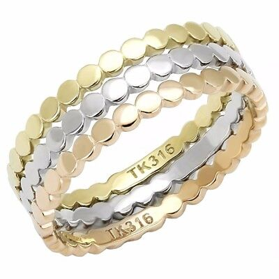 Womens 3 Colors Gold, Rose Gold, Silver IP Stainless Steel 3 Bands SET