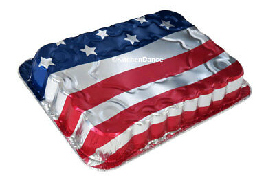 "13 x 9 x 2"" Disposable Aluminum American Flag Cake Pans  #1776NL"