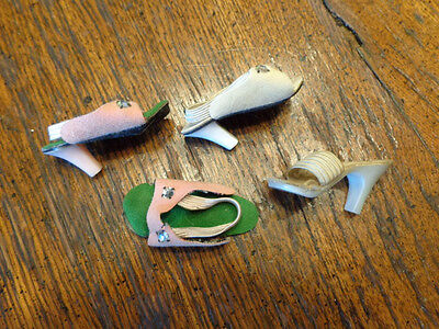 Vintage Fashion Doll Shoes Pink Green & Single Heels For Miss Revlon Type