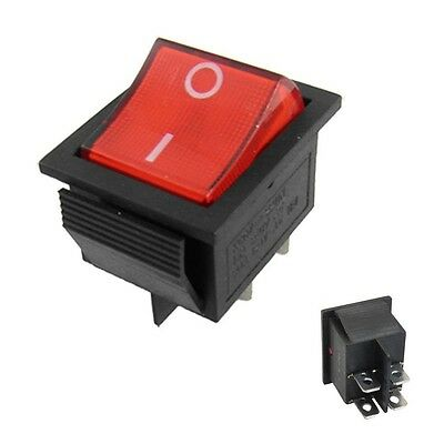 Rocker Switch DPST ON-OFF 15A 250V 4 Pin Double Pole Snap in Car With Red Lamp