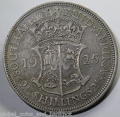 South Africa 1925 2 Half Shillings (2 1/2- Silver Coin gF